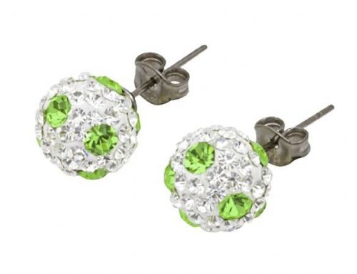 Tresor Paris 8mm Green Poke A Dot Large BonBon Stud Earrings